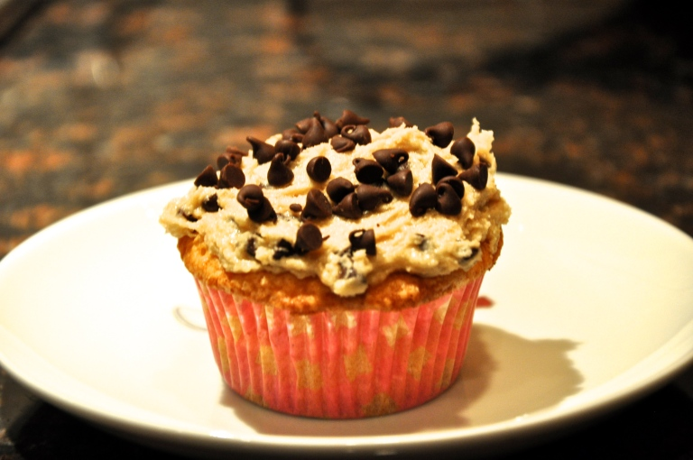 Vanilla cupcake and Chocolate Chip Cookie Dough frosting!