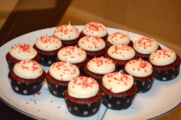 Delicious red velvet cupcakes with cream cheese frosting.